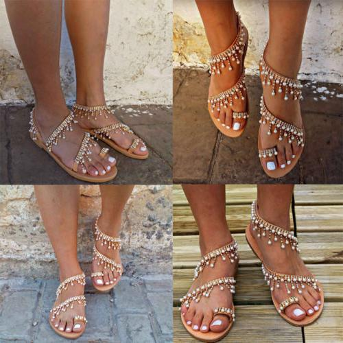 Women Sandals Pearl Tassel Summer Beach USA
