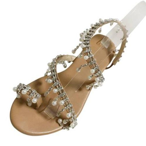 Women Bohemian Pearl Summer Flat Sandals USA