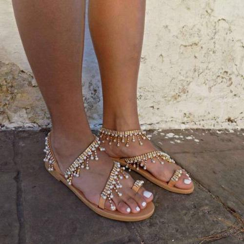 Women Sandals Pearl Tassel Clip Summer Beach USA