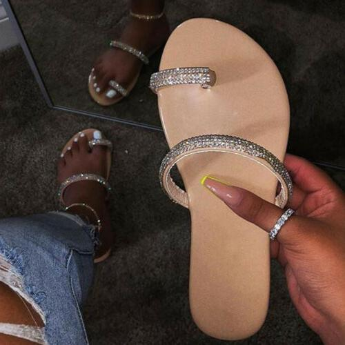 Women Diamante Slip On Sandals Slipper Ladies Summer Beach Flat