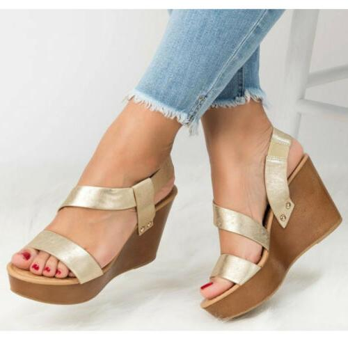 Womens Wedge Heels Sandals Summer Ankle Strap Shoes Size