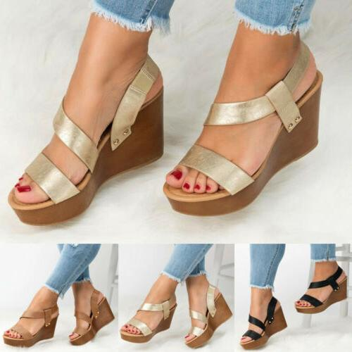 Womens Platform Wedge Heels Sandals Ankle Shoes