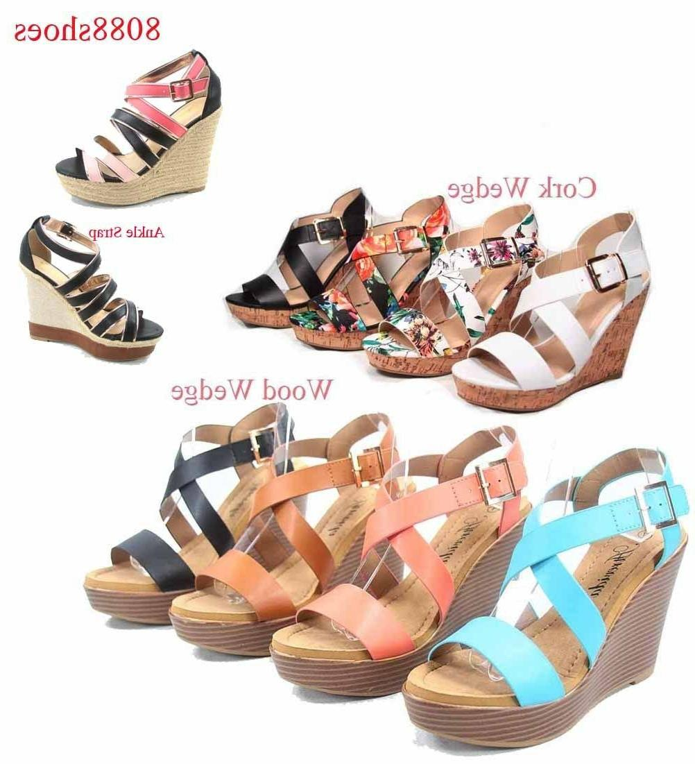 women s fashion open toe buckle wedge