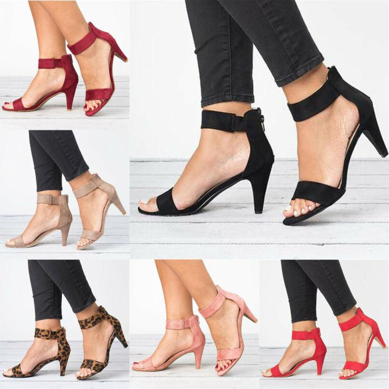 Women Dance Shoe Ankle Strap Flat Casual Sandals Shoes Chunk
