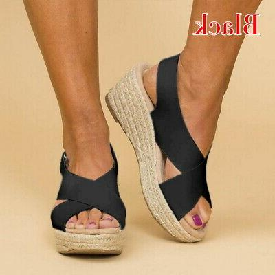 Women Sandals Wedge Espadrille Toe