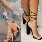 Womens Block Heel Ankle Strap Lace Up Sandals Ladies Peep To