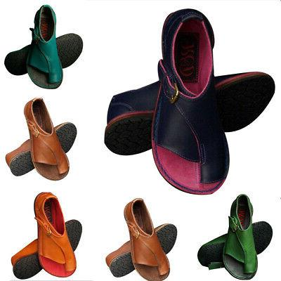 Ladies PU Leather Flat Sandals Ladies Comfy Slip On Shoes Fo