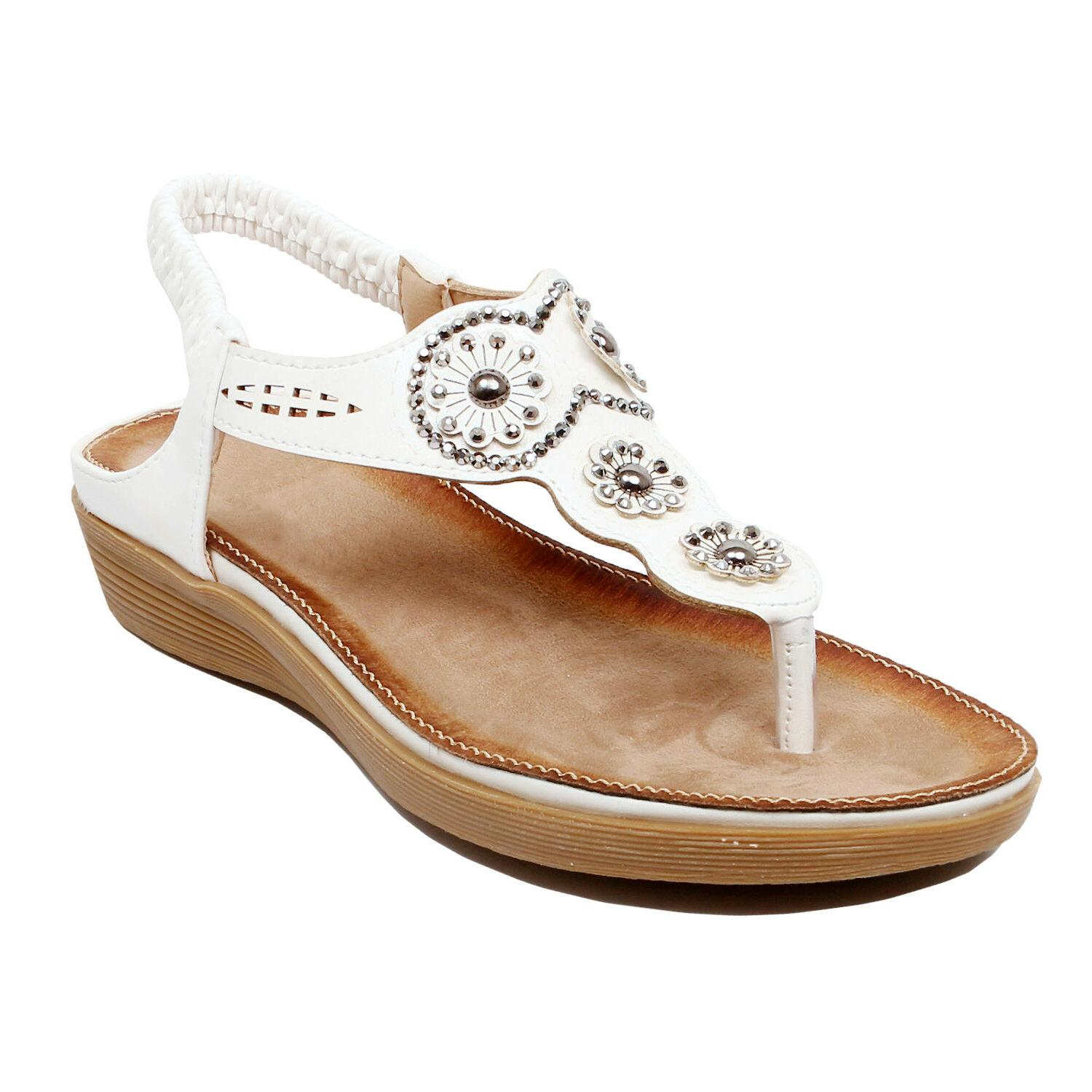 Womens Jeweled Comfortable Summer Easy On Flat Sandal
