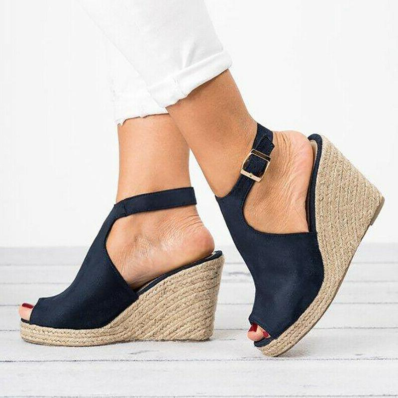 US Womens Wedges Sandals Platform Peep Shoes