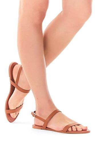 womens sandals double strap open toe flat