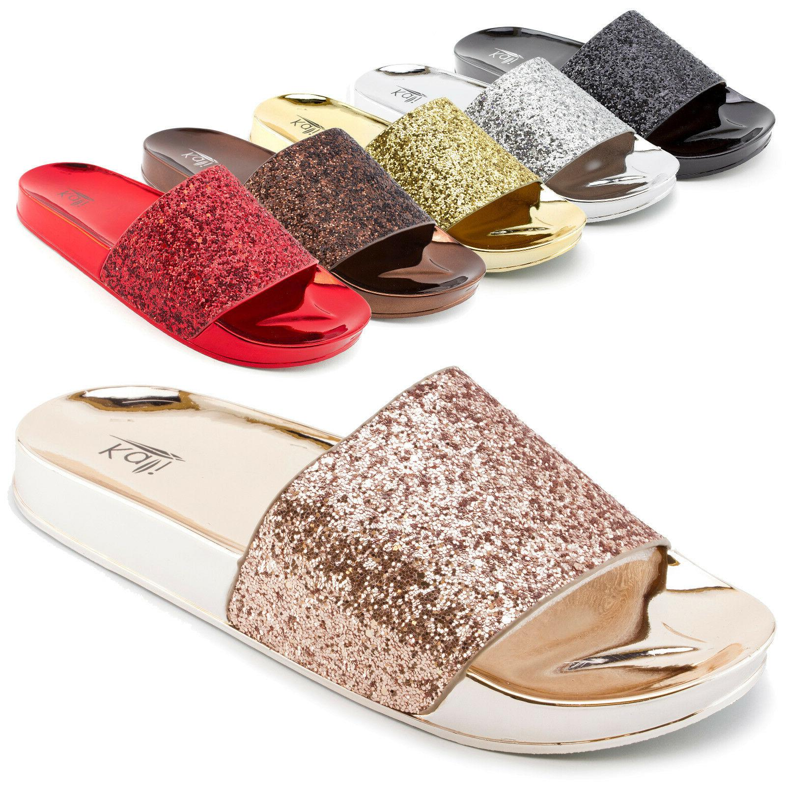 womens wide glitter band slip on slide
