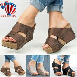 LADIES WOMEN PU LEATHER PLATFORM WEDGE SANDALS FLIP FLOPS GL