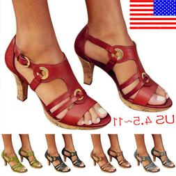 Large Size Women Sandals Comfortable High Heels Shoes Buckle