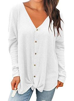 MIHOLL Womens Loose Blouse Long Sleeve V Neck Button Down T