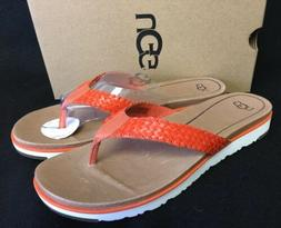UGG Australia Lorrie Woven Leather Sandals 1016176 Fire Opal