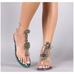 Liliana MARLO-9 Blue Green Hologram Clear Strappy Gladiator