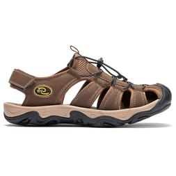 Men's Big Size Hiking Leather Sandals Leisure Closed Toe Fis