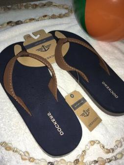 DOCKERS Men's DARK BLUE/BROWN Size M 8-9 FLIP FLOP COMFORT F