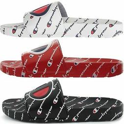 Champion Men's IPO Repeat Slide Sandals White Red Black Flip
