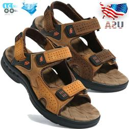 Men's Leather Fisherman Sandals Adjust Strap Open Toe Sport