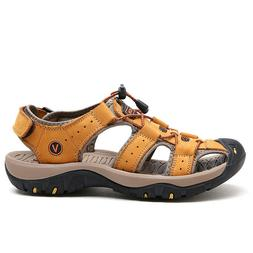 Men's Outdoor Sandals Hiking Camping Leather Fisherman Shoes