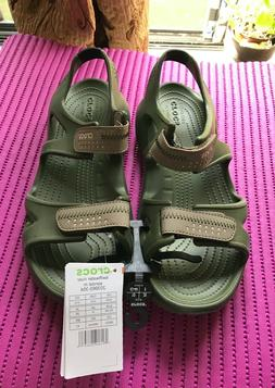 CROCS Men's Swiftwater River Sandals Adjustable Army Green,