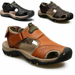 Men Sandals Genuine Cowhide Leather Summer Hiking Sport Shoe