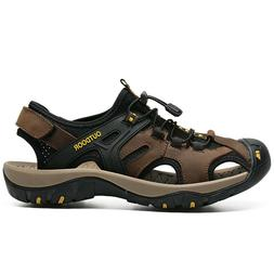 Mens Leather Sandals Shoes Nonslip Beach Outdoor Hiking Casu