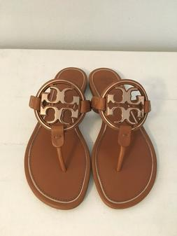 TORY BURCH Metal Miller Sandals Tan Rose Gold Sz 9 New With