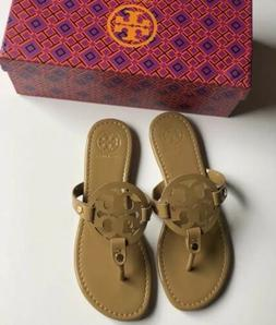 Tory Burch Miller Sand Sandals Patent Leather Nude Color Siz