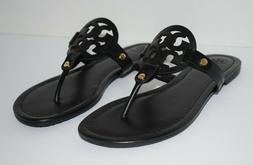 Tory Burch Miller Thong Sandals Black Smooth Leather sz. 8.5
