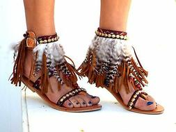 Native America Tall gladiator sandals, brown feather sandals