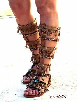 Native America Tall gladiator sandals, hippie shoes, Gladiat