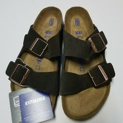 New Birkenstock Arizona Mocha Suede Soft Footbed Sandals 39