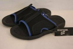 NEW Boys Flip Flops Size Large 2 - 3 Blue Black Slides Sanda