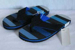 NEW Boys Flip Flops Size Medium 13 - 1 Black Blue Sandals Su
