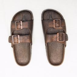 New Pali Hawaii Buckled Jesus Sandals Jandals Brown - Sizes