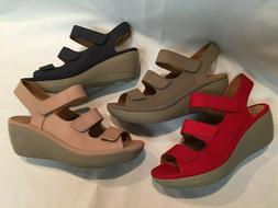 New! Clarks Collection Nubuck Wedge Sandals - Reedly Juno, S