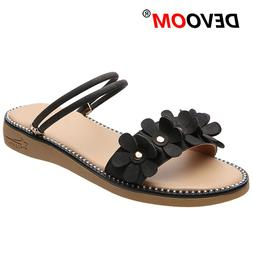 New Fashion Home Shoes Flowers Fur Slides Black <font><b>Wom