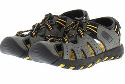 NEW Khombu Kids Boys Grey Yellow Beach Sport Active Sandals