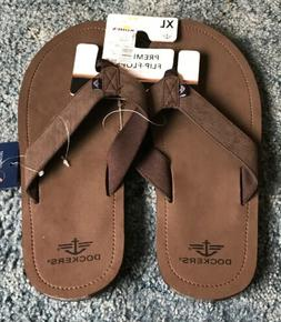 New Men's Dockers Casual Flip-Flops Size XL  Brown. Great Fe
