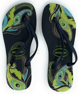 Havaianas New Slim Flip Flops Womens Sandals Black/Blue/Gree