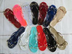 New Women BARCELONA Jelly Sandals Flip Flop Flats Slip On