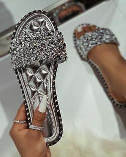 new women open toe jeweled rhinestone band