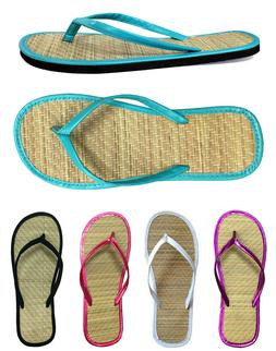New Women's Bamboo Flip Flop Sandals Beach Gym Pool Party We