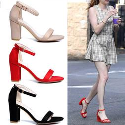NEW Women's Color Ankle Strap High Heels Sandal Shoes Chunky