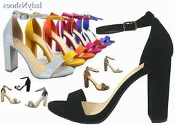 NEW Women's Color  Open Toe Ankle Strap Chunky Heel Dress Sa