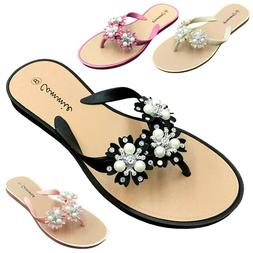 NEW Women's Flower Pearl Rhinestone Sandals Flat Jelly Thong