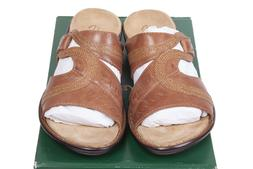New Clarks Women's Ina Dashing Leather Tan Slide Sandal Size