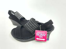 NEW! Skechers Women's RUMBLERS SCI FI Wedge Sandals Blk WIDE